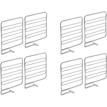 Pr/ácticos organizadores de armarios para estantes de rejilla Separadores met/álicos para el armario del dormitorio ba/ño o cocina plateado mDesign Juego de 2 divisores de estanter/ías con balda
