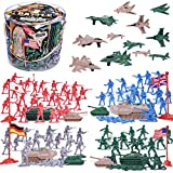 world war 2 figures - Liberty Imports Army Men Military Action Figures Bucket Playset - 124-Pieces World War II Toy Soldiers Combat Special Forces (Soldiers and Vehicles)