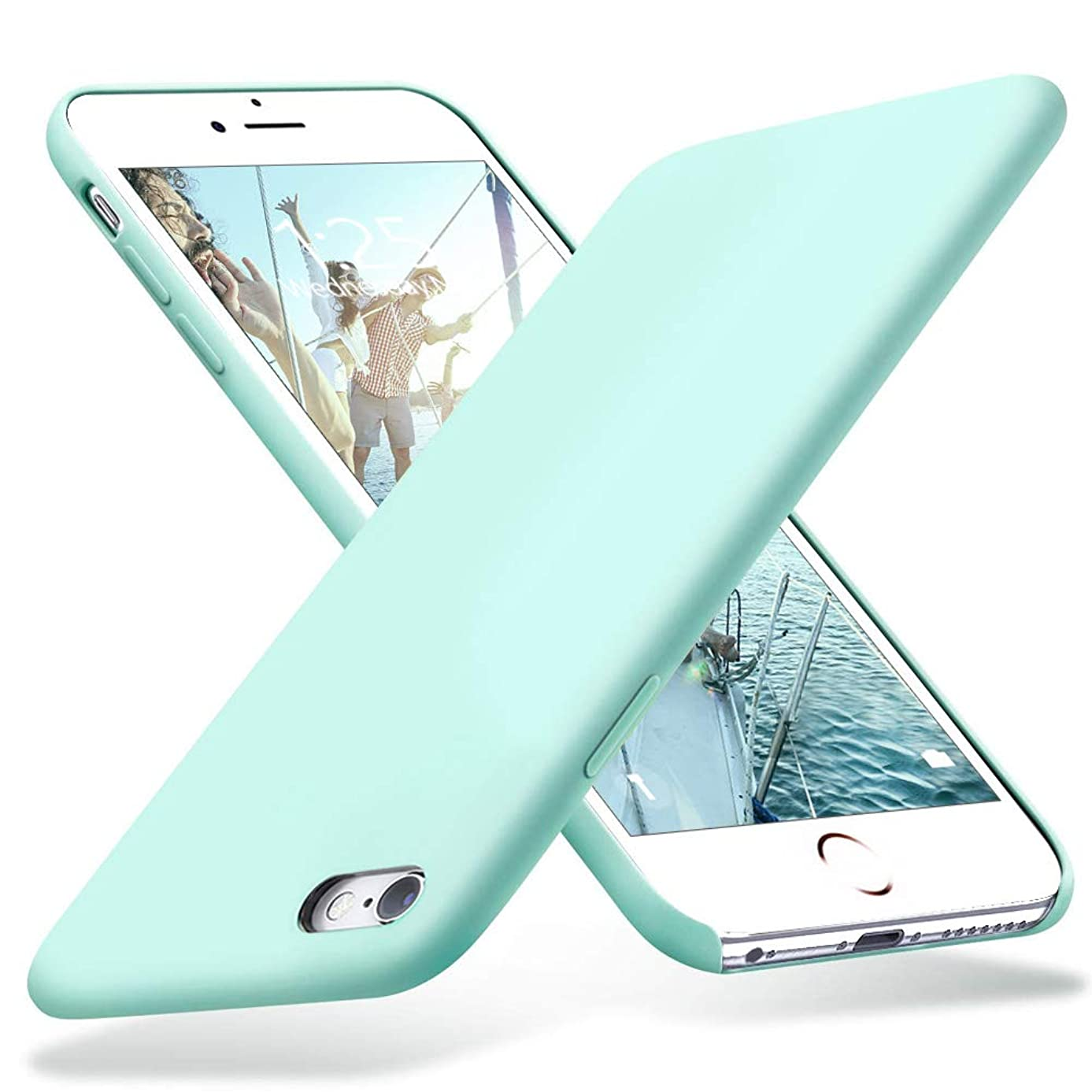 KUMEEK iPhone 6s Plus Case, iPhone 6 Plus Case, Liquid Silicone Rubber with Soft Microfiber Cloth Cushion Protective Case Thin Slim for iPhone 6s Plus/iPhone 6 Plus - Mint