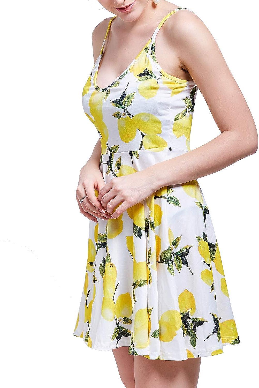 wishpower Womens Spaghetti Dress Summer Sleeveless Adjustable Strap Floral Dress