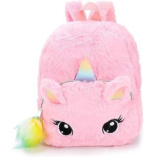 Mochila con diseño de Unicornio Mochilas Infantiles de Peluche para niños de 2 a 6 años con Colgante de Bola de Pelo