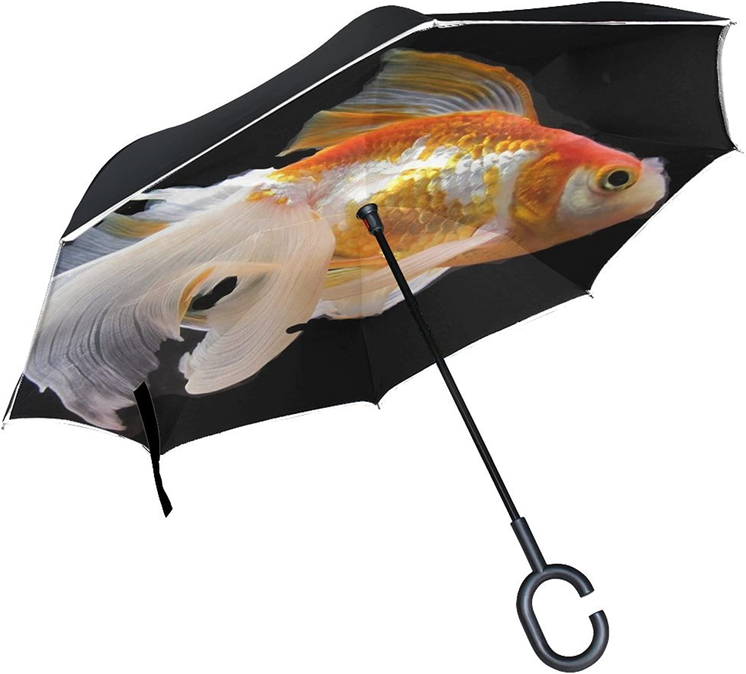 Animal Fish Fantail goldfish Adorable Black Water Classic Cutebaby Pretty Ingreened Umbrella Large Double Layer Outdoor Rain Sun Car Reversible Umbrella