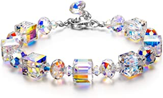 LADY COLOUR ♥ A Little Romance ♥ Sparkling Bracelet for Women with Aurore Boreale Crystals from Swarovski, Adjustable 7-9 Hypoallergenic Jewelry Gift Box Packing, Nickel Free Passed SGS Test