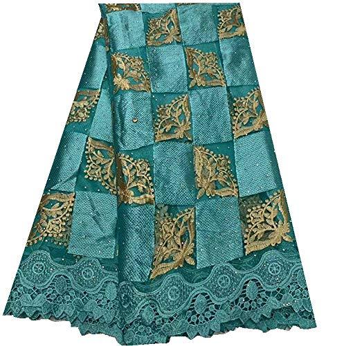 Afrikaanse kant stof Borduren Afrikaanse Rhinestone Lace Stof Franse Net Kant Stof for Nigeriaanse Party Wedding Dress Bride Naaibenodigdheden (Color : Lake blue, Size : 5 yards)