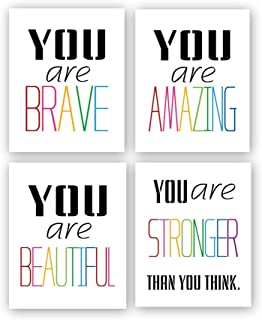 HPNIUB Typography Watercolor Word Inspirational Quote&Saying Modern Art Print Set of..