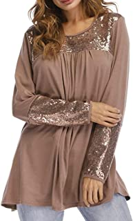 Frieed Womens Long Sleeve Sequins Tunic Crewneck Loose Blouse Shirt Tops