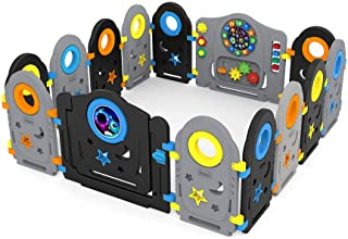 Grey Black Baby Playpen - 14 Panel Kids Activity Center Portable Playard, Indoor and Outdoor Baby Fence - Safe Play Yard P...
