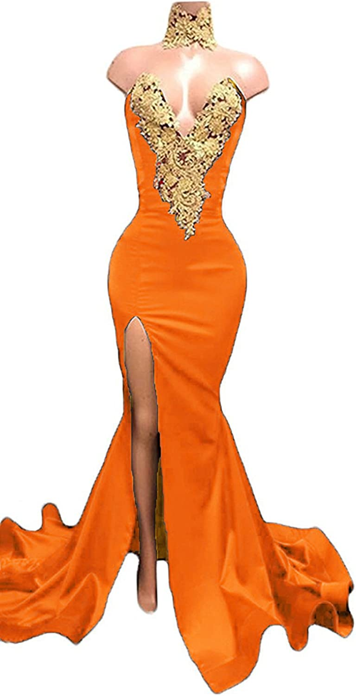 Fanciest Women's gold Appliques Mermaid Prom Dresses Long Split Evening Gowns