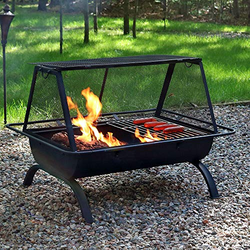 36' Fire Pit Steel Grill with Spark Screen and Vinyl Cover | Happy Parents Depot
