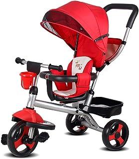 Barn trehjulingar med styrhandtag med justerbar Seat med Canopy Småbarn Bike