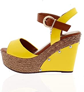 628771238 Amazon.com  Yellow - Platforms   Wedges   Sandals  Clothing