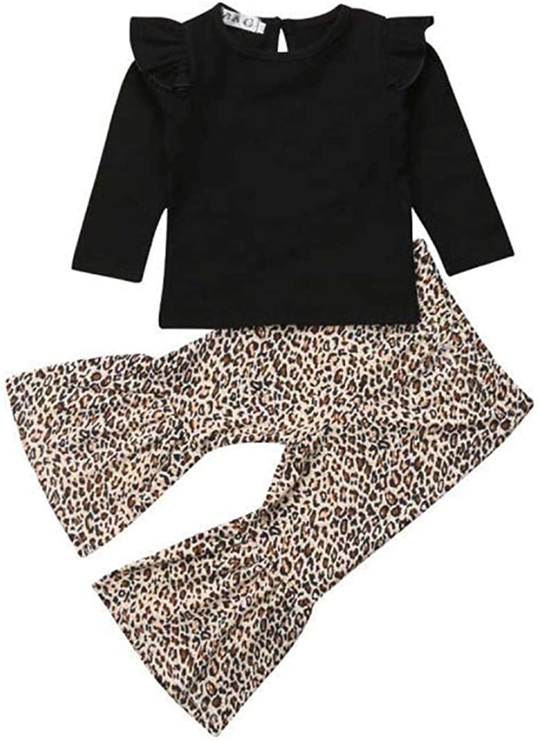 Toddler Baby Girl Clothes Leopard Off Shoulder Tube Top Shirt Romper Bell Bottom Pants Outfits Sets