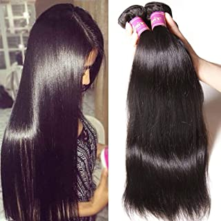 Unice Hair 8a Malaysian Straight Hair 4 Bundles Virgin Unprocessed Human Hair Wefts Hair Extensions Deal with Mixed Lengths 100% Human Hair Extensions (12 12 12 12, Natural Black)