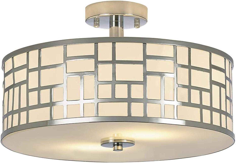 SOTTAE 2 Lights Elegant Modern Chrome Finish Glass Diffuser Livingroom Bedroom Flush Mount Ceiling Light,Led Ceiling Light Fixture(15.74 )