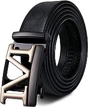 Mens Sliding Ratchet Belt of Black Genuine Leather Strap Adjustable Automatic Buckle Luxury Gift for Men