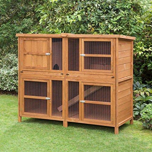 Chartwell Doppel-Kaninchenstall für 2 Kaninchen oder Meerschweinchen, für den Innen- und Außenbereich geeignet,1,52 m, in Großbritannien hergestellt