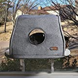 K&H PET PRODUCTS Universal Mount Kitty Sill Cat Window Perch 14 X 24 Inches Hooded Fleece with Window
