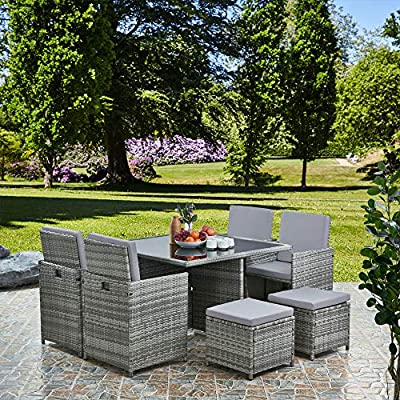 RayGar Deluxe 9 Piece 8 Seater Rattan Cube Dining Table Garden Furniture Patio Set (Grey/Beige) by RayGar