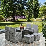 RayGar Deluxe 9 Piece 8 Seater <span class='highlight'>Rattan</span> <span class='highlight'>Cube</span> <span class='highlight'>Dining</span> Table <span class='highlight'>Garden</span> <span class='highlight'>Furniture</span> Patio Set (Grey/Grey)
