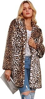 Faux Fur Jacket Coat, Womens Leopard Sexy Faux Fur Jacket Coat Long Sleeve Winter Warm Fluffy Parka Overcoat Outwear Tops