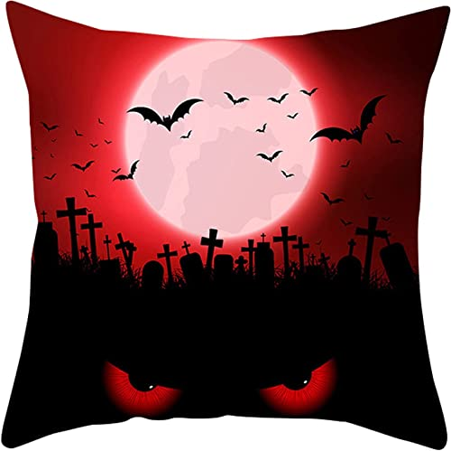 """new arrival RiamxwR Pillow Covers: Scary Halloween Throw Pillow Covers Cushion Case for Sofa Bedroom wholesale and Chairs Festival popular Decorations, 18""""x18"""" (Style D) online sale"""
