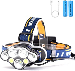 USB Rechargeable Headlamp, Brightest High 12000 Lumen Headband Flashlight for Adults - 7 Lights 8 Modes, Adjustable Headband, Lightweight & Comfortable - Best Camping Fishing Outdoor Christmas Gift