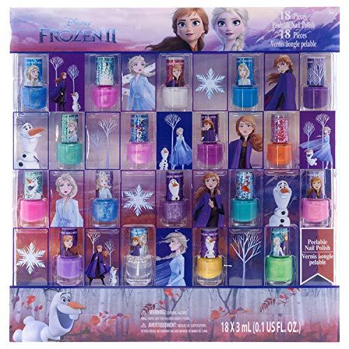 Disney Gefrorenes ungiftiges Peel-Off-Nagellack-Set für Mädchen, glitzernde und undurchsichtige Farben, Alter 3+ - 18er Pack