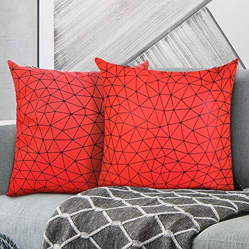 MoKo Federe in PU per Cuscino [2 Pezzi], con Motivi Geometrici Moderni Federa per Divano Morbida a Casa Soggiorno Camera da Letto Arredamento per Interni, 45x45 cm, Rosso