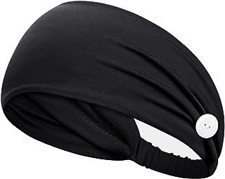 PURFUN Headbands with Buttons for Men Women Soft Cotton Wide Button Headbands Moisture Wicking Sports Workout Hair Bands S...