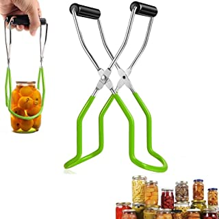 Feeke Canning Jar Lifter Tongs,Stainless Steel Jar Lifter, Anti-Slip Wide-Mouth Clip (Green)