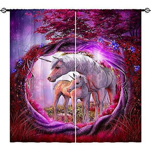 ANHOPE Unicorn Curtains, Colorful Fantasy Art Theme Window Drapes with Unicorn Couple in Purple Tree Hole Forest Print Pattern Rod Pocket Curtains for Girls Bedroom Living Room, 2 Panels, 42 x 63 Inch