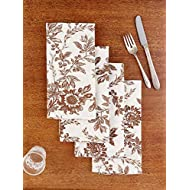 April Cornell Brown Felicity Floral Patterned 20 x 20 Inch Square 100% Cotton Cloth Napkin - Set of 4