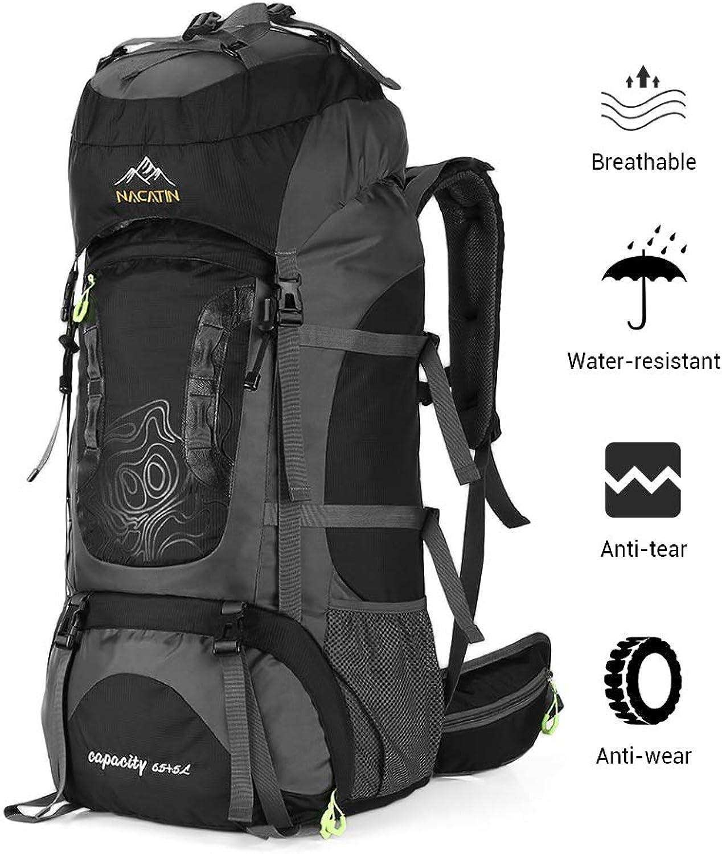 NACATIN Internal Frame 70L Backpack WaterResistant Hiking Daypack Backpacks,Waist Belt Padded Shoulder Straps Outdoor Activity Bag 65L+5L Large Capacity
