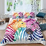 2 Piece Colorful Zebra Print Duvet Cover Twin for Kids Girls Teens 3D Beautiful Colorful Animal Theme Bedding Set Graphic Comforter Cover Graffiti Art Decorative Bedding for Adult Men Women