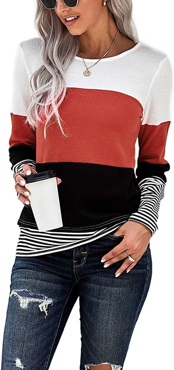 NEYOUQE Womens Loose Color Block 2021 autumn and winter new Striped Long Short Sleeve T safety Shi