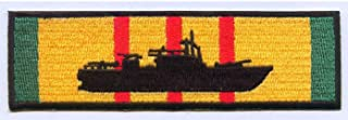 United States Navy PBR Patrol Boat River Silhouette on Vietnam Service Ribbon Military Patch - Veteran Owned Business
