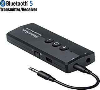 Bluetooth 5.0 Transmitter Receiver 3-in-1, iSbeller Wireless 3.5mm Audio Adapter for TV PC Headphones Home Sound System Car/CD-Like Voice Enjoyment