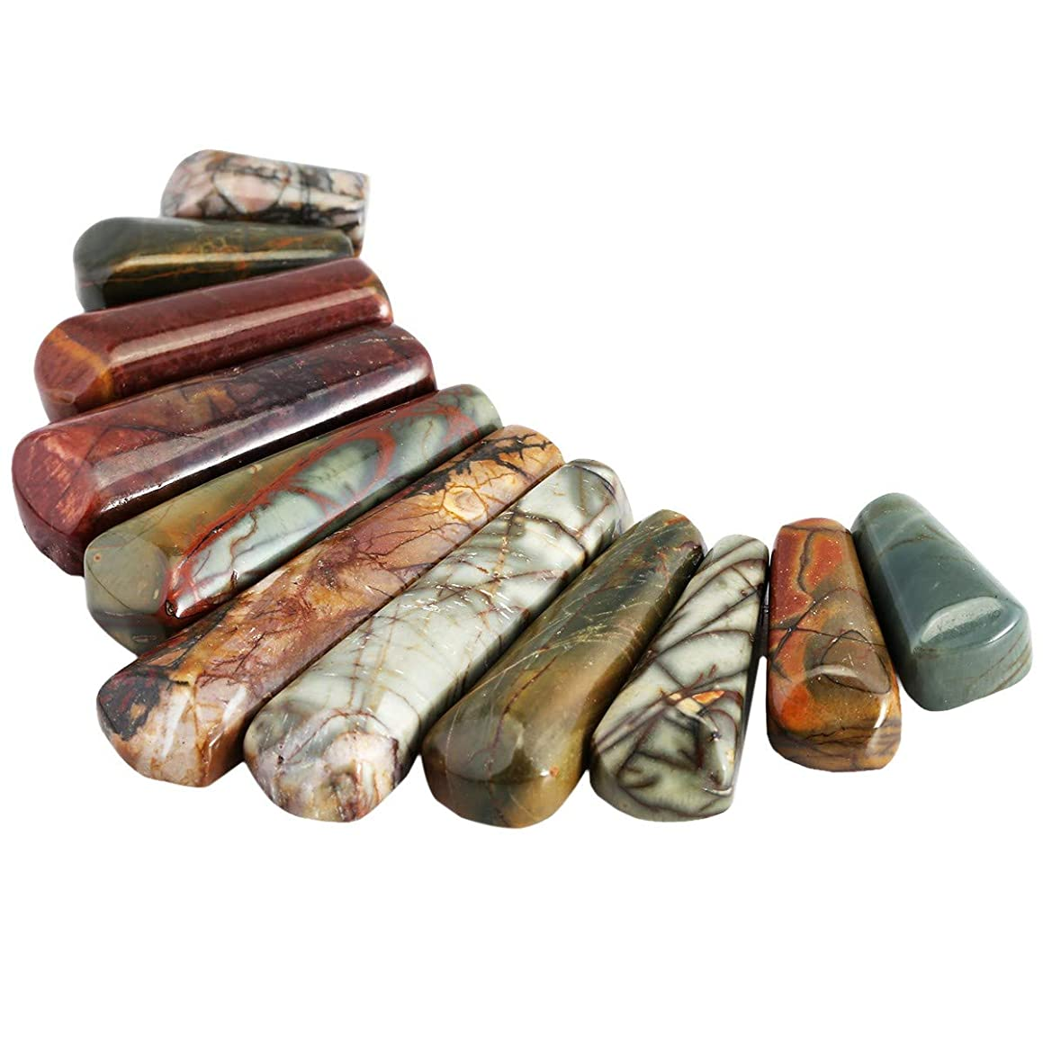 Nupuyai Polished Stone Loose Beads for Jewelry Making, Top Drilled Gradutated Sticks Pendant Beads Set