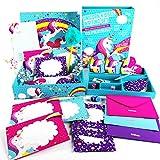 GirlZone Set de Papel de Carta Unicornio para Niñas Juego con Hojas, Tarjetas, Sobres, Bolígrafos, Goma, Pegatinas, Cinta Adhesiva y Sellos - Papeleria 3 a 12 años