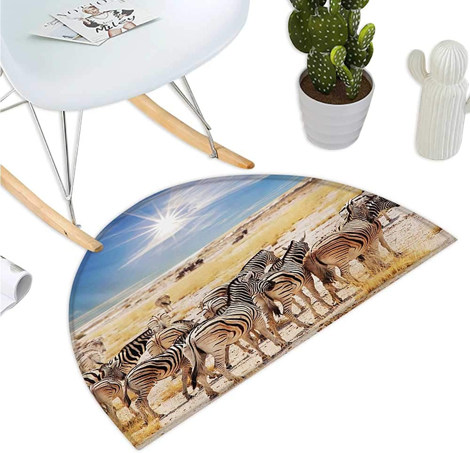 Africa Semicircular Cushion Zebras in Savannah Desert Waterhole on Hot Day Africa Safari Adventure Land Print Entry Door Mat H 39.3  xD 59  Multicolor