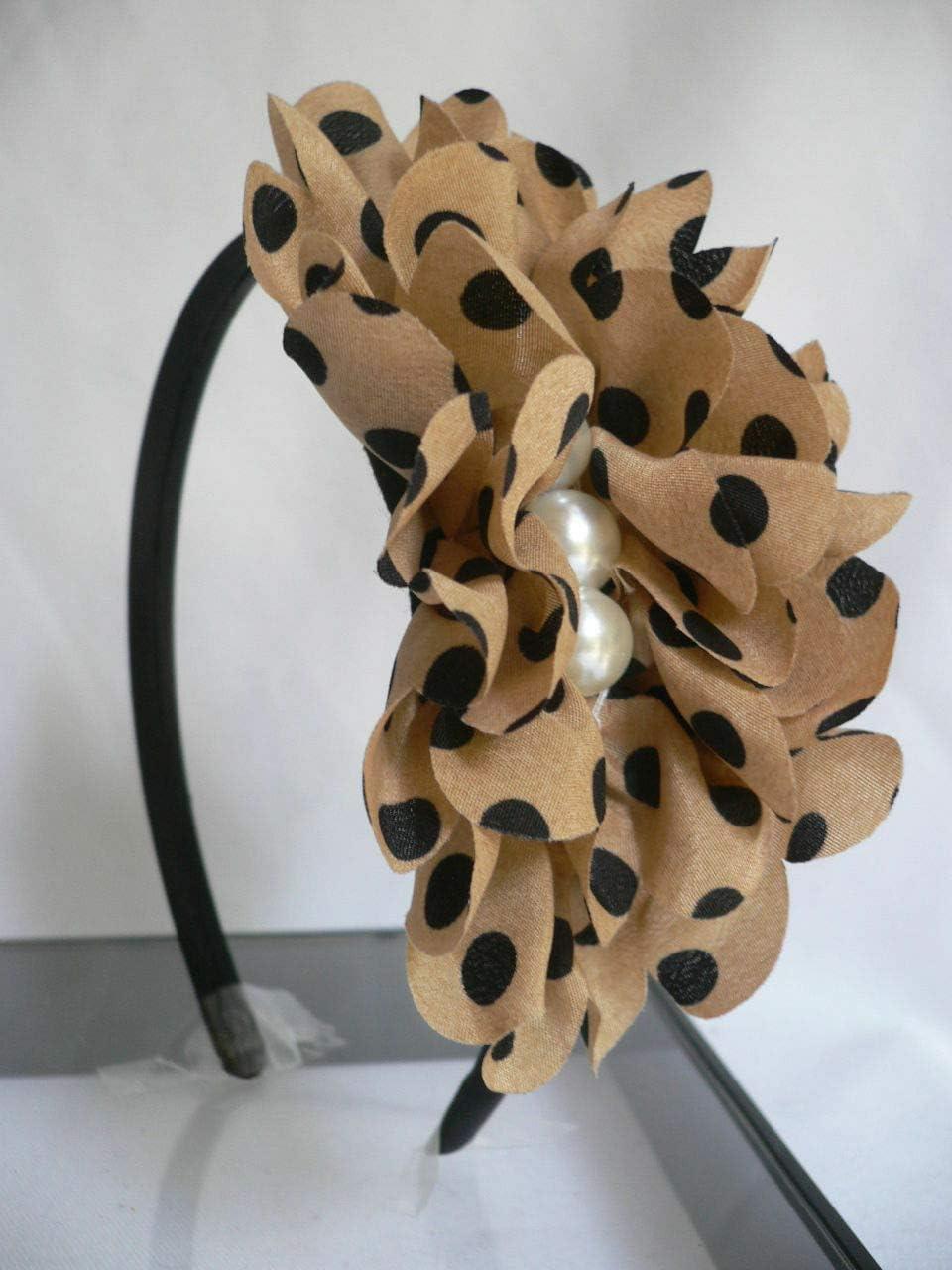 Women Black Headband Soft Beige Fabric Small Black Polka DOTS Pearl Beads Cute DS-4383