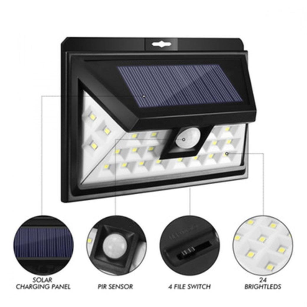 STRIR Lampara Solar Exterior Luz Solar, 24 LED Solar Jardin para Exteriores con Sensor de Movimiento, Luces Solares Led Exterior, Lluminación para Exteriores, Proyector Solar: Amazon.es: Iluminación