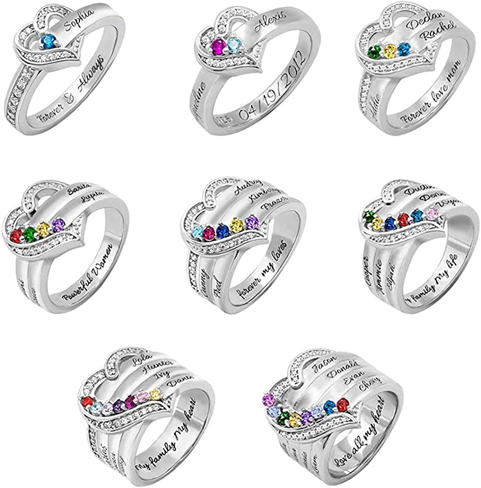 Getname Necklace Womens Wedding Bands Statement Rings Personalized 1-8 Birthstone Mother Rings 925 Sterling Silver Heart Custom Wedding Gifts for Women Grandma Mom Her Daughter