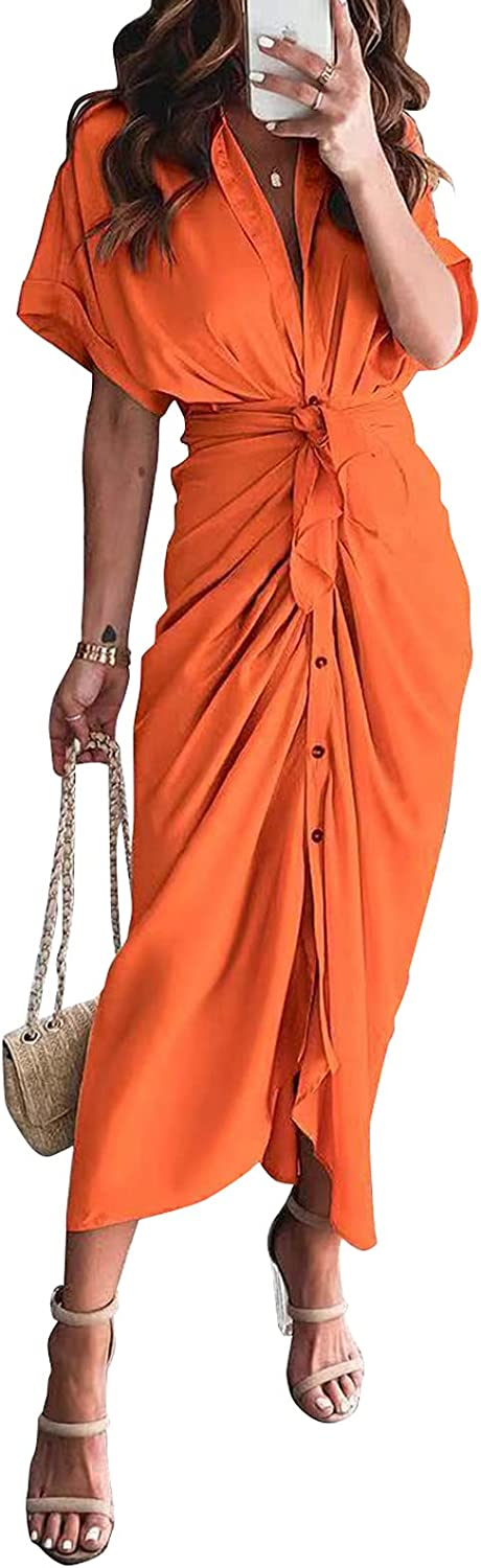 Ekaliy Women Stain Formal Work Dress Sexy Button Up Ruched Wrap Maxi Long Party Dress