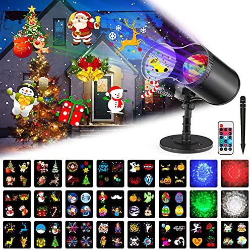 Natale Halloween Lampada per Proiettore LED, Impermeabile Proiettore Luci con Telecomando, Lampada di Proiezione Interno & Esterno, 10 onda d'acqua e 20 diapositive, per Halloween, Natale, Festa