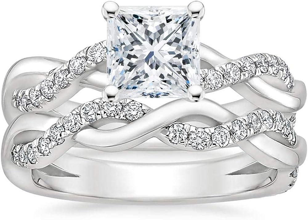 Blocaci Princess Cut Phoenix At the price Mall Wedding Ring Eng Sets for Bridal Women