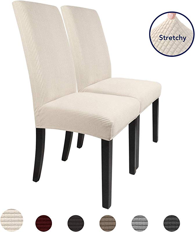 PureFit 2 Pieces Stretch Dinner Chair Covers Spandex Jacquard Soft Fitted Dinning Chair Slipcover Washable Furniture Protector With Anti Skid Elastic Bottom For Dining Room
