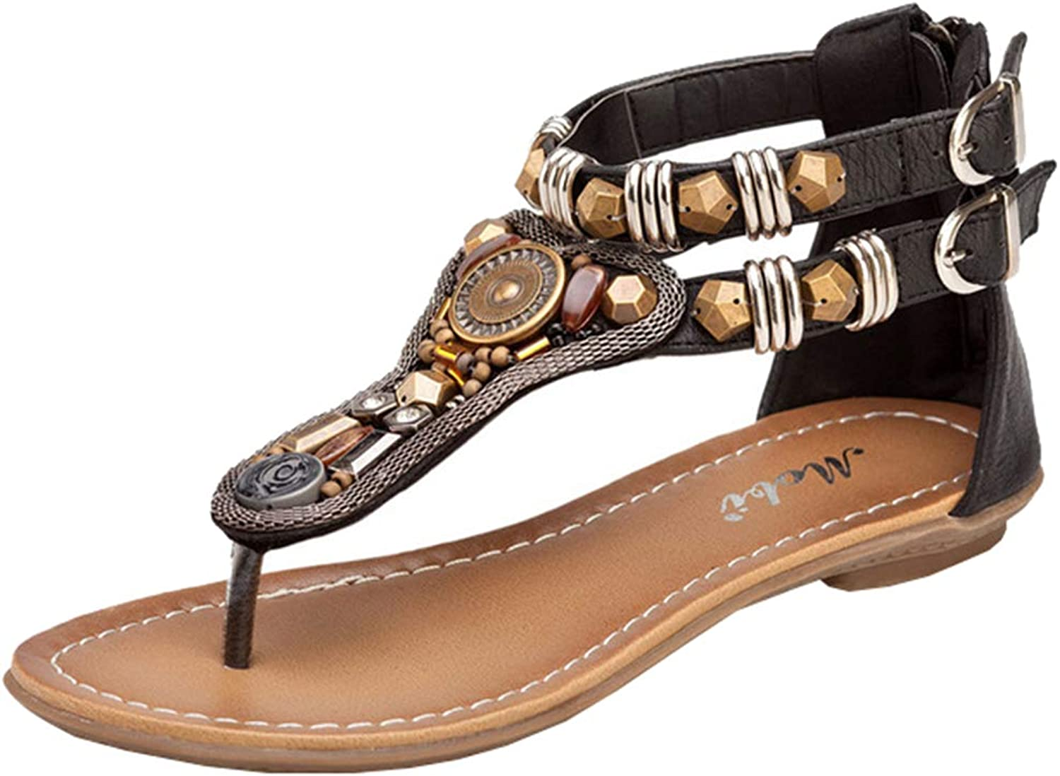 AGOWOO Women Sandals Ankle Strap Flat Thong Beaded Zipper Gladiator