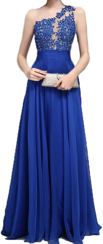 LEJY Women's One Shoulder Lace Applique Top Long Prom Dress 2018 Formal Dress