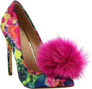 Affair Velvet Pointy Toe Stiletto High Heel Fur Pom Slip On Pump Slide Shoe